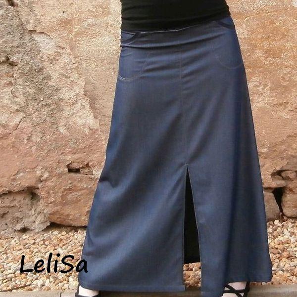 Dlouhá džínová sukně č.12-detail. Kapsy - riflové 2796d96178