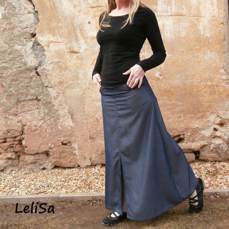 Dlouhá riflová sukně 012  8afc004bc4