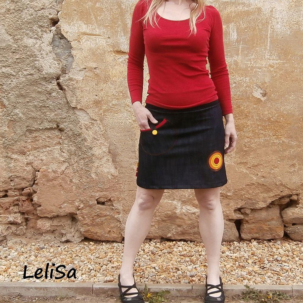 012833c008ef Riflová sukně s kapsou na zapínání 0231