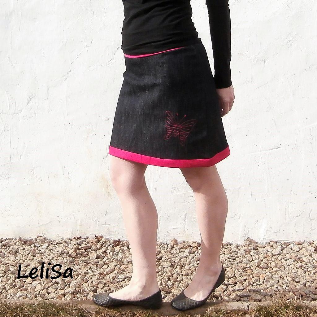 50fba1703ac6 Tmavě modrá riflová sukně 0353