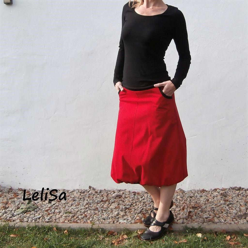 Midi elastická červená sukně 0406 b393b52b4b