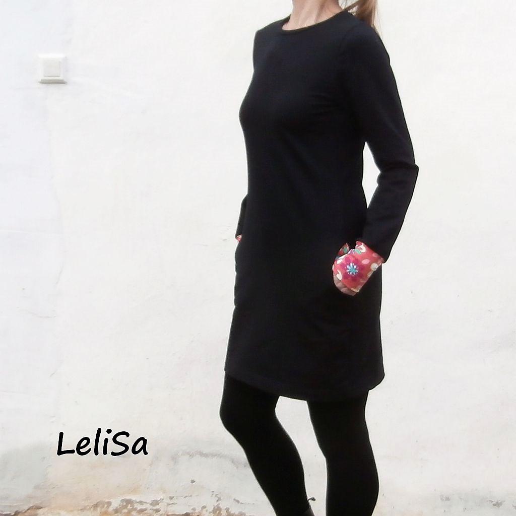 6d26214199ae Černé šaty s dlouhým rukávem 0430