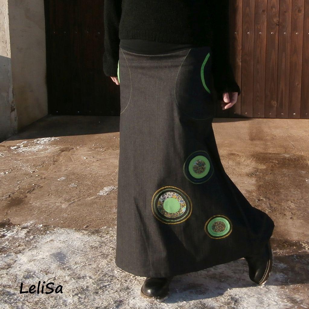 Dlouhá riflová sukně 0158  e00671b286