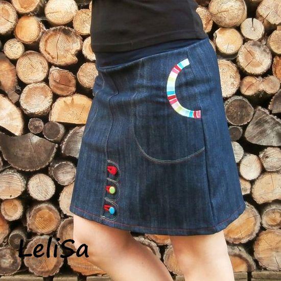 56f4ac0b1931 Riflová sukně áčková s barevnými knoflíky 104